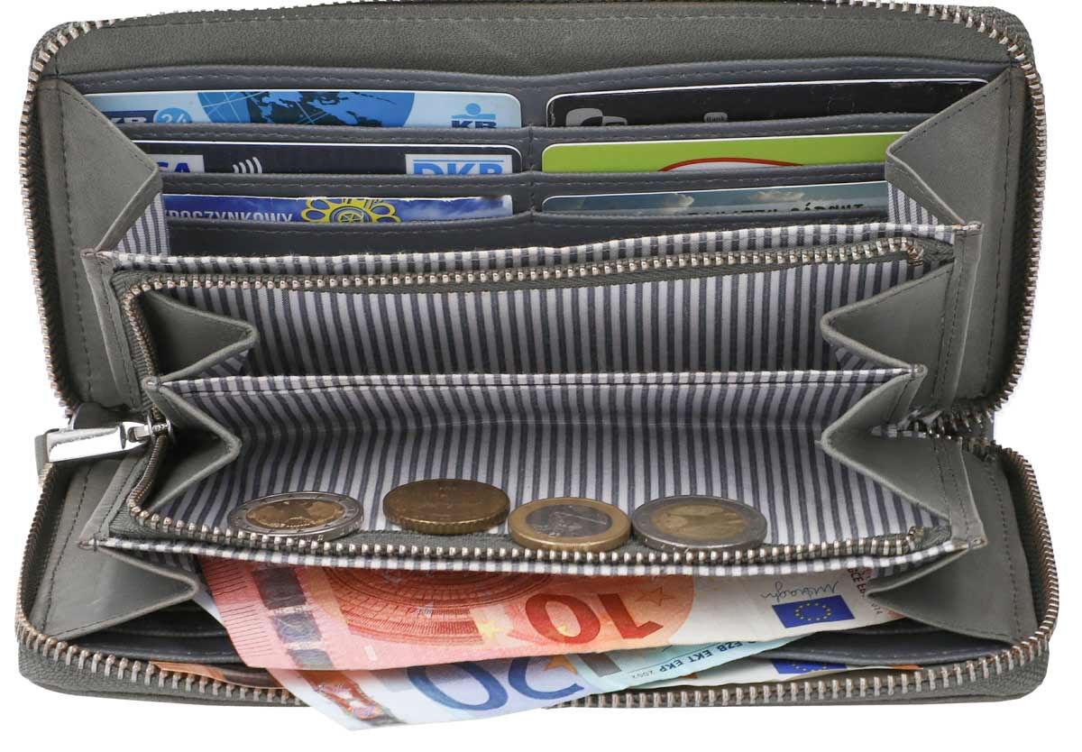 Outlet Geldbörse - eines defekten Reißverschlusses - kleine Farbunterschiede im Leder - leichte Verf