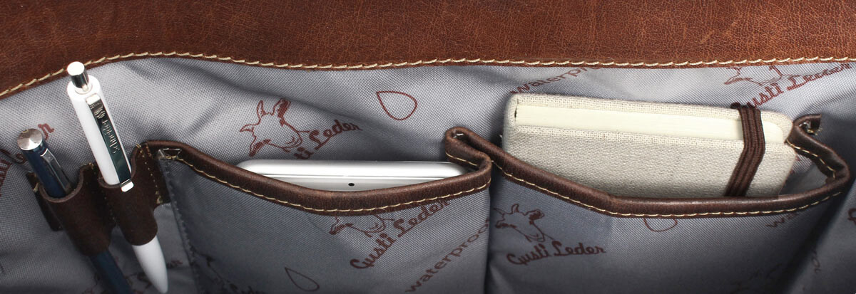Outlet Aktentasche - Ersatzschilder mit Klettband fehlen - kleinere Lederfehler – defekte Nähte - fa