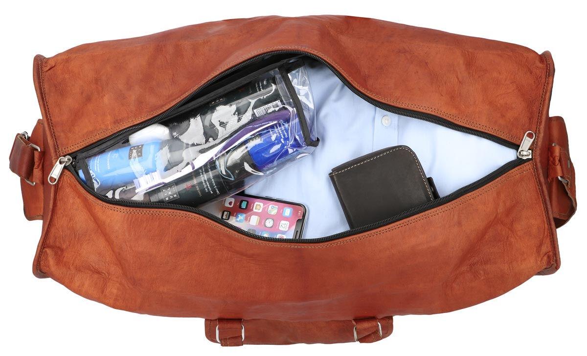 Outlet Reisetasche - Leder leicht fettig – leichter Rost - Klebereste - kleinere Lederfehler - ander