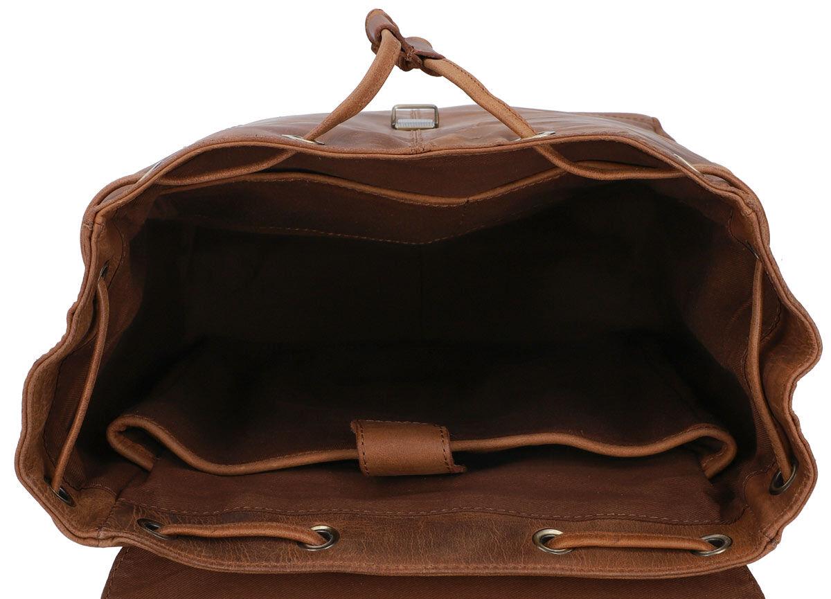 Outlet Rucksack – Faltiges Leder - kleinere Lederfehler - fehlender Verschluss - ansonsten neu – Sie