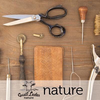 Materialen für die Produktion von natürlich gegerbten Lederwaren