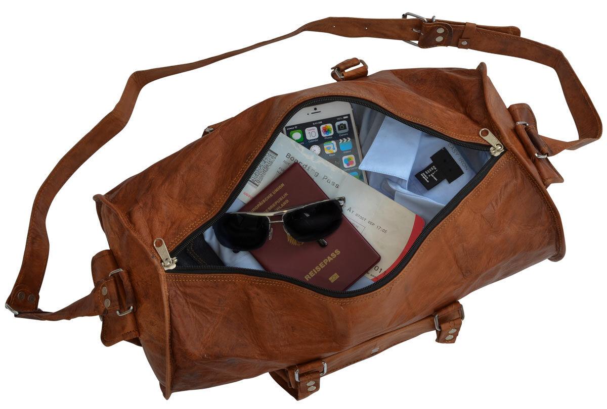 Outlet Reisetasche - leichter Rost - faltiges Leder - defekte Nähte - gebrauchter Zustand - siehe Vi