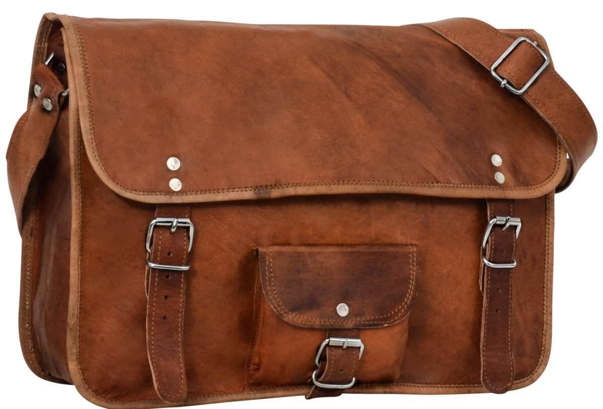 Umhängetasche Collegetasche Unitasche Arbeitstasche Echt Leder Vintage Braun