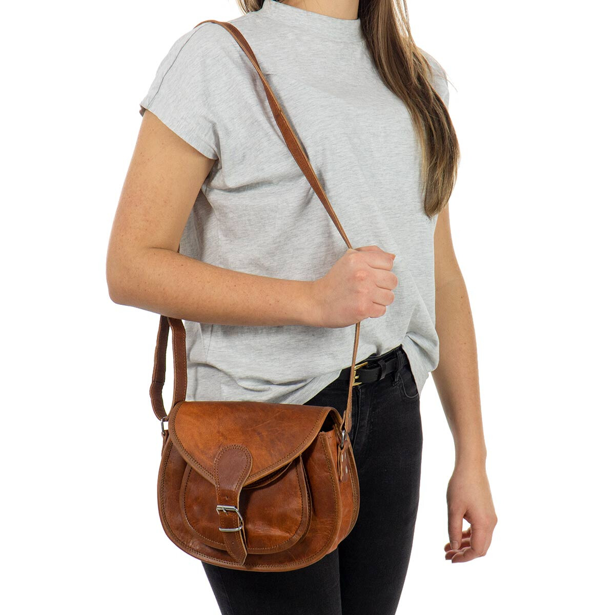 Outlet Umhängetasche – Leder leicht fettig - kleinere Lederfehler - leichter Rost - defekter Verschl