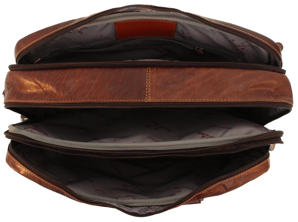 Outlet Laptoptasche – kleinere Lederfehler - kleine Farbunterschiede im Leder – faltiges Leder – ans